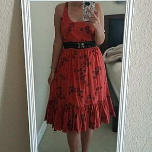 Free People Orange Dress with Butterfly Back